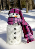 Snowman Ornament. A plstic snowman with a scarf sitting on a snowbank in a woods Stock Photo