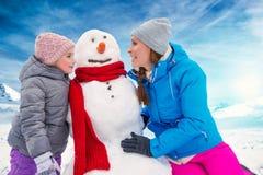 Snowman outdoors Royalty Free Stock Photos