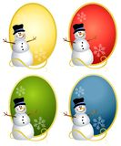 Snowman Oval Logos. Your choice of snowman illustrations sitting on in colourful ovals Stock Photography