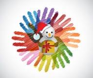 Snowman over diversity hands circle Royalty Free Stock Photos