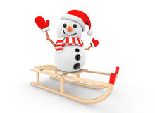 Snowman over Wooden Sledge Stock Images