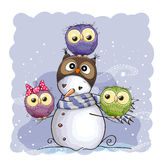Snowman and Owls royalty free illustration