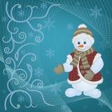 Snowman på julbakgrund Royaltyfria Foton