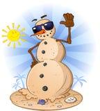 Snowman på stranden Royaltyfria Bilder