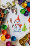 Snowman painted gouache and watercolor Stock Photo
