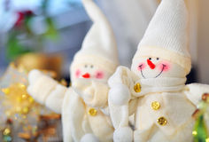 Snowman pair Stock Images