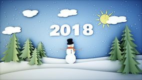 Snowman paper background. 2018 Happy new year and xmas background. Snowfall. 3d rendering. Royalty Free Stock Images