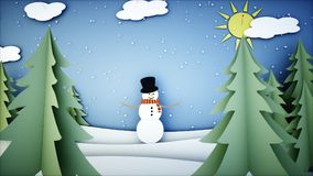 Snowman paper background. Happy new year and xmas background. Snowfall. 3d rendering. Stock Image