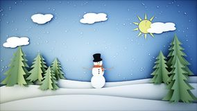 Snowman paper background. Happy new year and xmas background. Snowfall. 3d rendering. Stock Photo