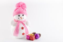 Snowman with parcels Royalty Free Stock Photo