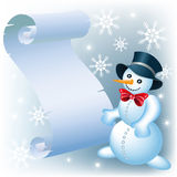 Snowman and parchment Stock Photos
