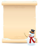 Snowman And Parchment Sign Stock Photography