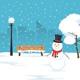 Snowman, park bench and trees covered by snow. Winter landscape in city park. Christmas background. Vector illustration in flat style Royalty Free Stock Photo