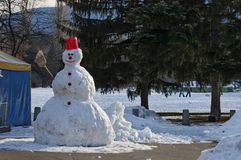 Snowman in the park, kids made, Sofia Stock Photography
