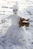 Snowman in the park Stock Photo