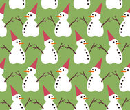 Snowman pattern on green color background Stock Photos