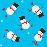 Snowman Pattern. Seamless pattern of cute snowman ice skating. Eps10 Royalty Free Stock Photography