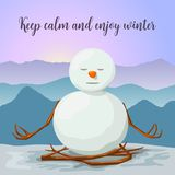 Snowman peaceful and relaxed. yoga lotus posture. Sunrise in winter mountains. Snowman peaceful and relaxed. yoga lotus posture. Sunrise in the mountains. Cross vector illustration