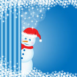 Snowman peeping behind curtain Royalty Free Stock Image