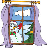 Snowman peeps into the house. From the window Royalty Free Stock Photography