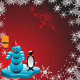 Snowman and penguin Royalty Free Stock Image