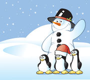 Snowman & Penguin Postcard Stock Image