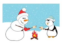 A snowman and a penguin roasting marshmallows. Cute cartoon characters with a snow background. A winter holidays concept, Merry Christmas card Royalty Free Stock Photography