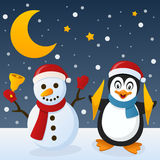 Snowman & Penguin on the Snow. Happy cartoon Christmas snowman holding a jingle bell a with a cute penguin, in a snowy scene with the moon. Eps file available Stock Image