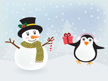 Snowman and penguin Stock Image