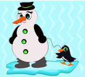 Snowman with Pet Penguin Royalty Free Stock Photo