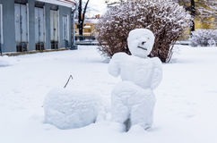 Snowman in Peter and Paul Fortress in Saint-Petersburg Royalty Free Stock Images