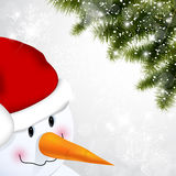 Snowman and pine Stock Photo