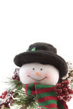 Snowman with pine branch Stock Photos