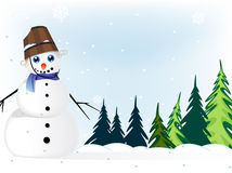 Snowman in a  pine forest Royalty Free Stock Photos