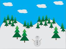 Snowman in pine forest Royalty Free Stock Photos