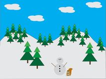 Snowman in pine forest with squirrel Stock Images