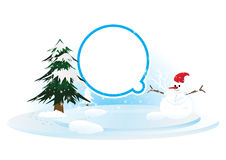Snowman and pine tree Stock Photo
