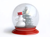Snowman and Pine Tree Inside Snow Globe In 3D Stock Photo