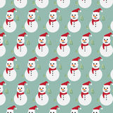 Snowman with pine tree pattern background Royalty Free Stock Images