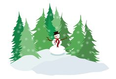 Snowman and pine trees Royalty Free Stock Photo