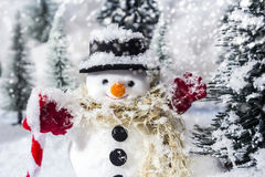 Snowman in pine woods during winter Stock Photography