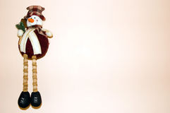 Snowman pink background christmas. Snowman toy on pink background a lot of copy space stock photography
