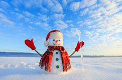 The snowman in plaid scarf, red hat, gloves and icicle in the hand. Nice landscape with the mountains on the background. stock images
