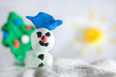 Snowman plasticine Royalty Free Stock Photography