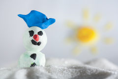 Snowman plasticine Royalty Free Stock Images