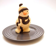 Snowman on the plate Stock Photo