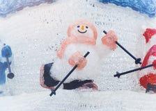 Snowman play Ski Christmas doll decoration Holiday festival. Snowman play Ski Christmas doll decoration Joyful seasonal Holiday festival element Stock Image