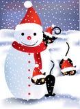 Snowman and playful kittens Stock Photos