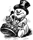 Snowman playing on a drum. Vector drawing of a cheerful snowman playing on a drum Stock Photography