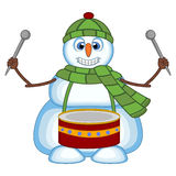 Snowman playing drums wearing a green head cover and a scarf for your design vector illustration Royalty Free Stock Photo